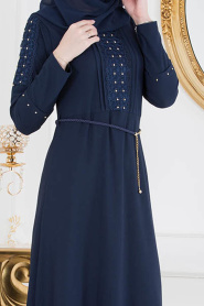 Nayla Collection - Kolları Detaylı Lacivert Tesettür Elbise 10110L - Thumbnail