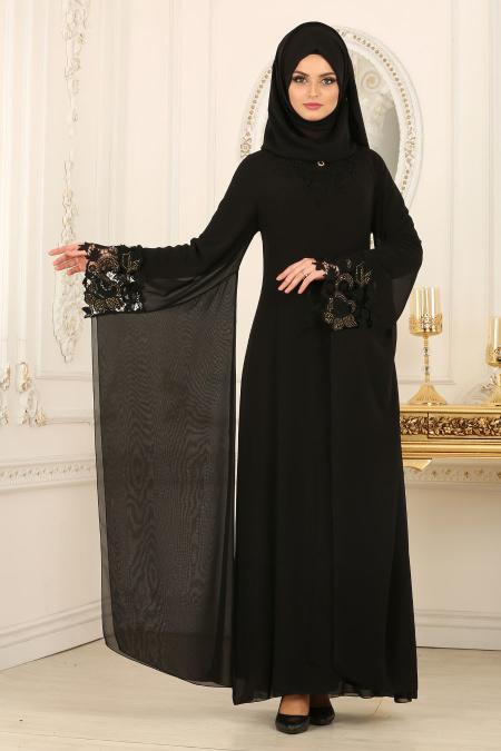Nayla Collection - Kolları Detaylı Siyah Tesettür Abiye Elbise 25669S