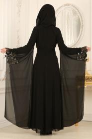 Nayla Collection - Kolları Detaylı Siyah Tesettür Abiye Elbise 25669S - Thumbnail