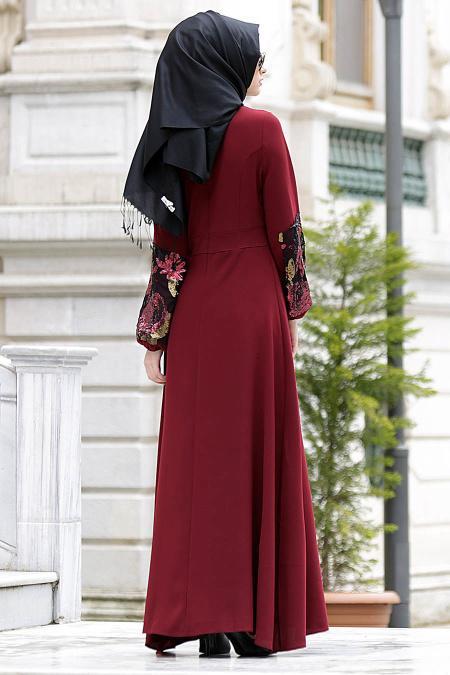 Nayla Collection - Kolları İşlemeli Bordo Tesettür Elbise 4148BR