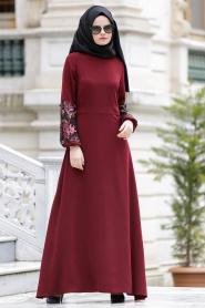 Nayla Collection - Kolları İşlemeli Bordo Tesettür Elbise 4148BR - Thumbnail