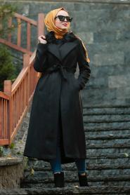 Nayla Collection - Kürklü Siyah Tesettür Kap 5406S - Thumbnail