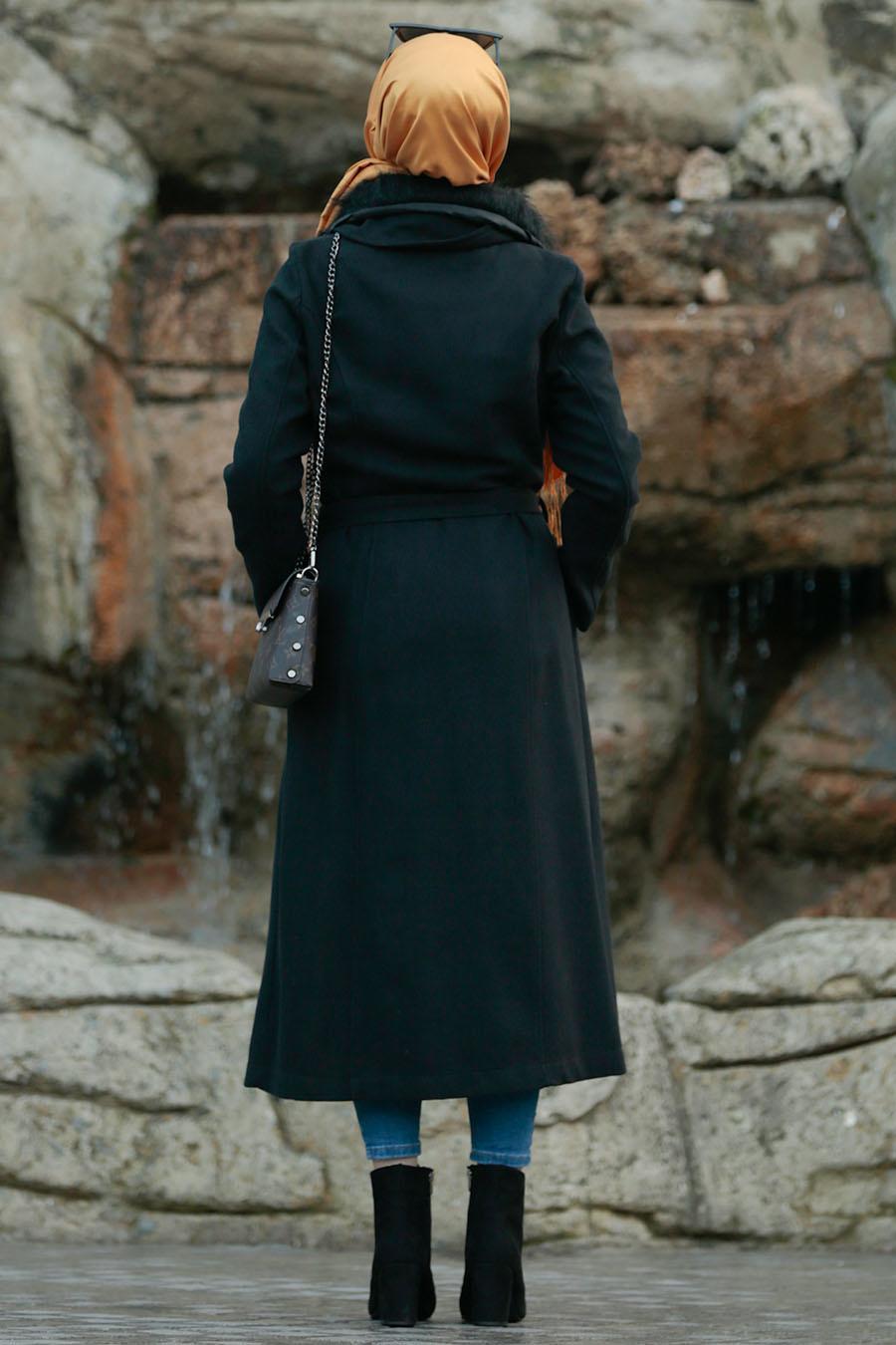 Nayla Collection - Kürklü Siyah Tesettür Kap 5406S