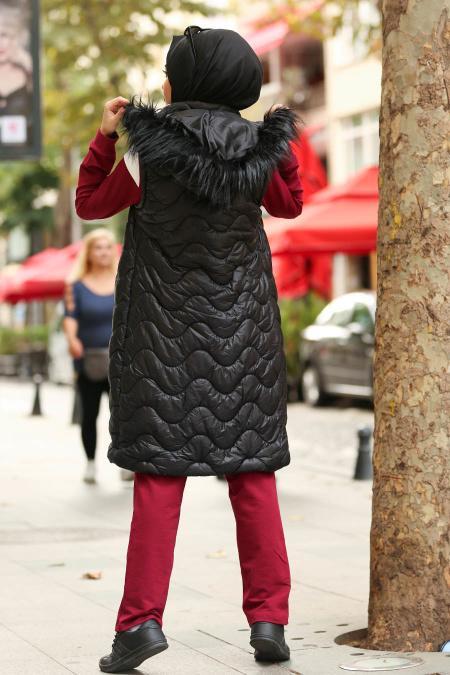Nayla Collection - Kürklü Siyah Tesettür Şişme Yelek 5005S