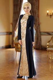 Nayla Collection - Lacivert Elbise - Thumbnail