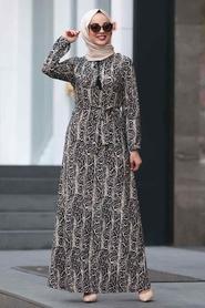 Nayla Collection - Leopar Desenli Tesettür Elbise 22921LP - Thumbnail