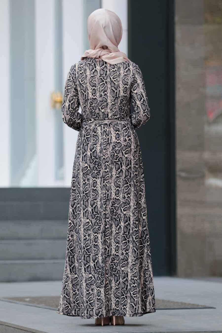 Nayla Collection - Leopar Desenli Tesettür Elbise 22921LP