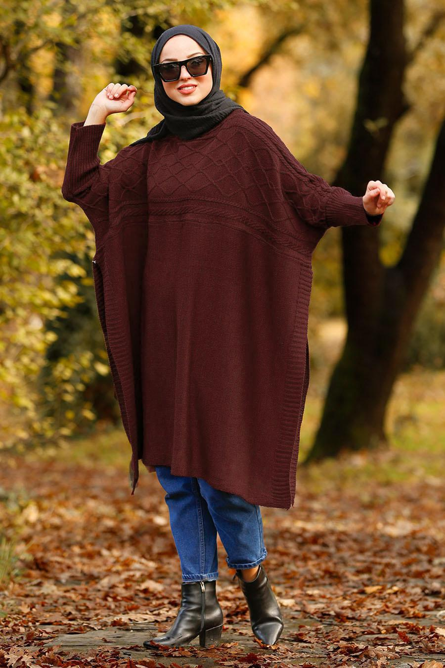 Nayla Collection - Mahogany Hijab Poncho 21040BR