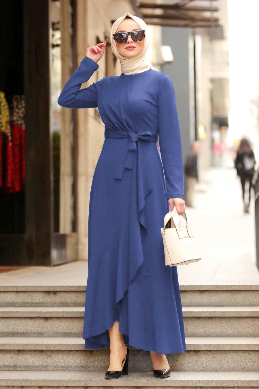 Nayla Collection - Mavi Tesettür Çapraz Elbise 4041M