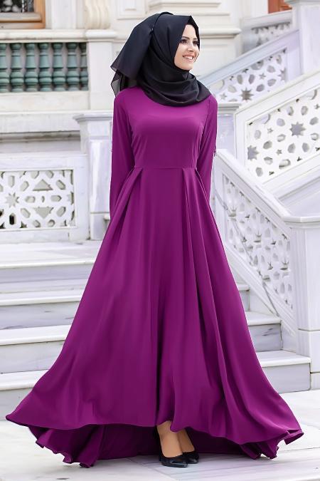 Nayla Collection - Mor Tesettür Elbise 61453MOR