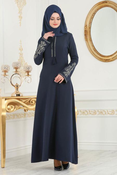 Nayla Collection - Nakışlı Lacivert Tesettür Elbise 81516L