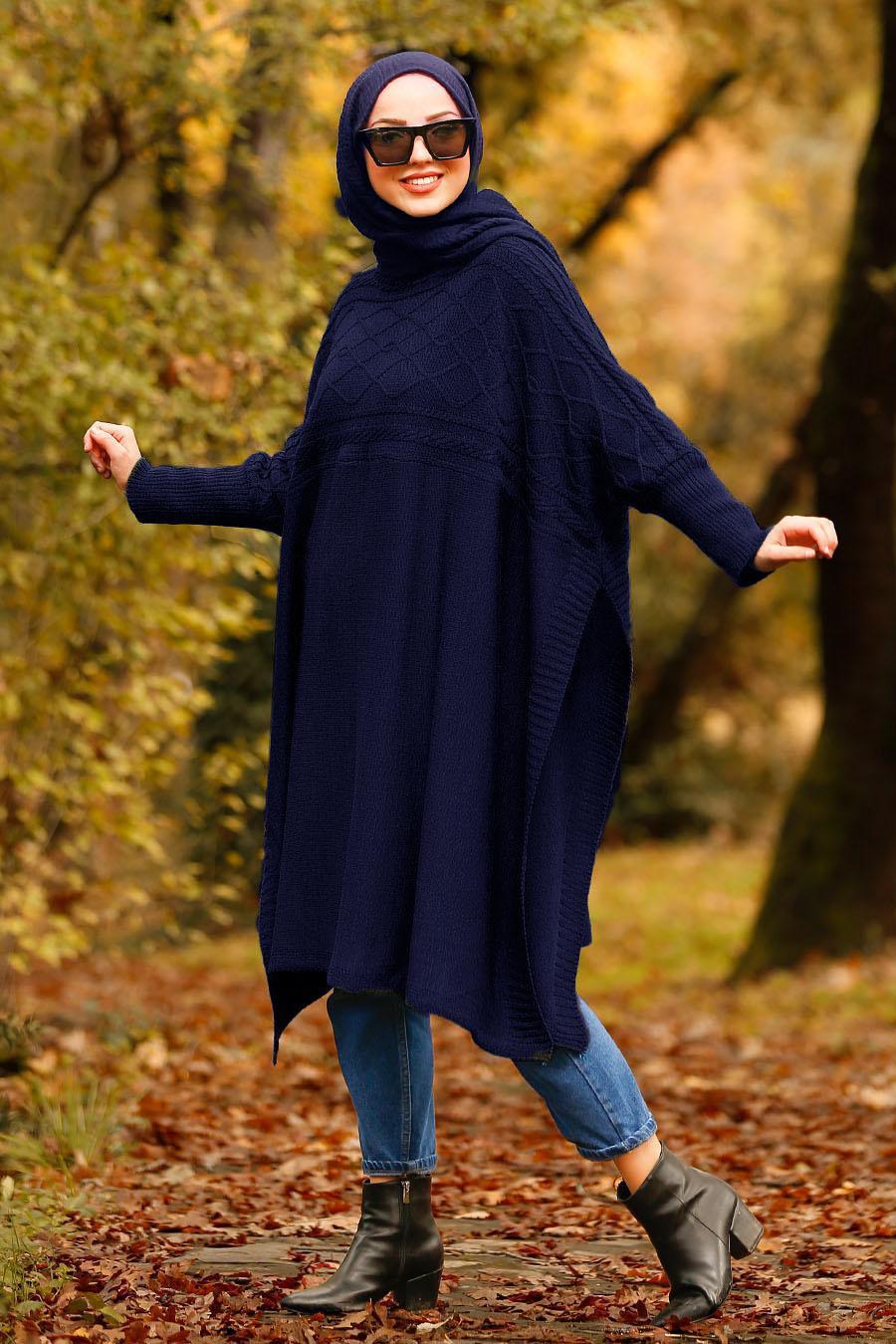 Nayla Collection - Navy Blue Hijab Poncho 21040L