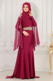 Nayla Collection - Omuzları Taş Detaylı Fuşya Tesettür Abiye Elbise 20060F - Thumbnail