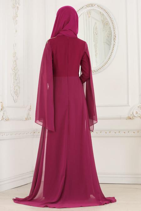 Nayla Collection - Omuzları Taş Detaylı Fuşya Tesettür Abiye Elbise 20060F