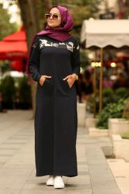 Nayla Collection - Önü Cepli Lacivert Tesettür Elbise 82620L - Thumbnail