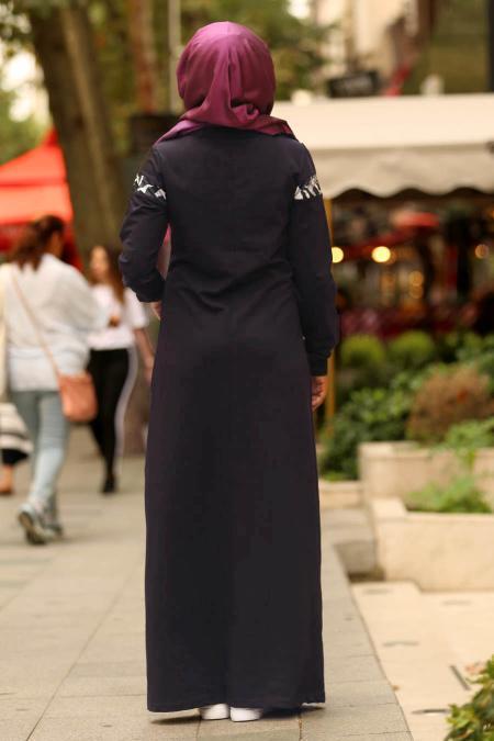 Nayla Collection - Önü Cepli Lacivert Tesettür Elbise 82620L