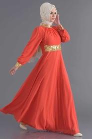 Nayla Collection - Payet Detaylı Mercan Elbise - Thumbnail
