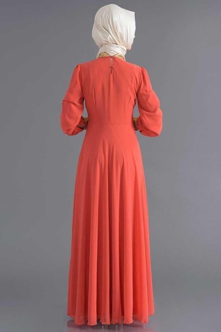 Nayla Collection - Payet Detaylı Mercan Elbise
