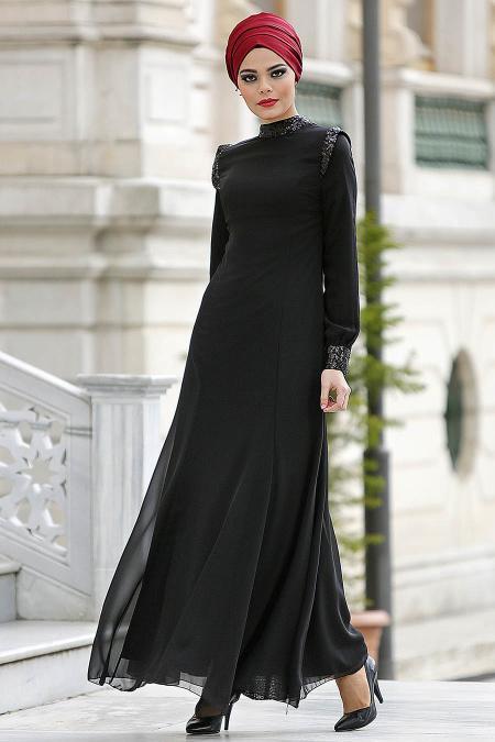 Nayla Collection - Payet Detaylı Siyah Elbise