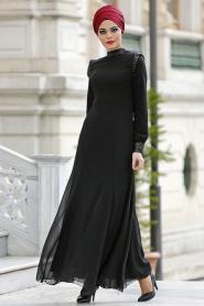 Nayla Collection - Payet Detaylı Siyah Elbise - Thumbnail