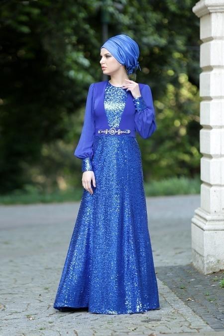 Nayla Collection - Payetli Sax Mavi Elbise