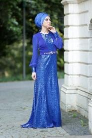 Nayla Collection - Payetli Sax Mavi Elbise - Thumbnail