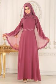 Nayla Collection - Pelerinli Gül Kurusu Tesettür Abiye Elbise 25662GK - Thumbnail