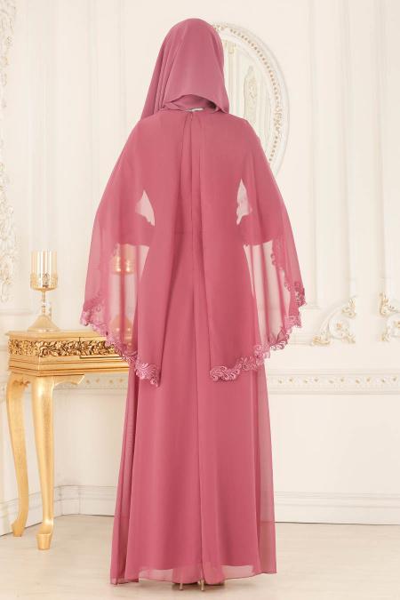 Nayla Collection - Pelerinli Gül Kurusu Tesettür Abiye Elbise 25662GK