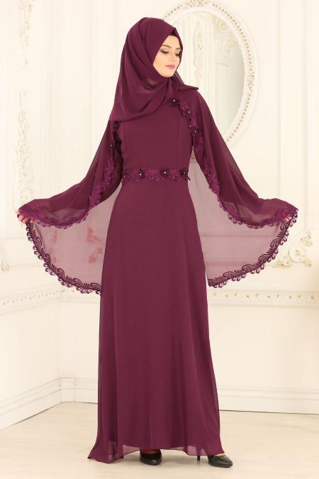Nayla Collection - Pelerinli Mürdüm Tesettür Abiye Elbise 25662MU