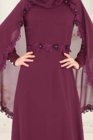 Nayla Collection - Pelerinli Mürdüm Tesettür Abiye Elbise 25662MU - Thumbnail
