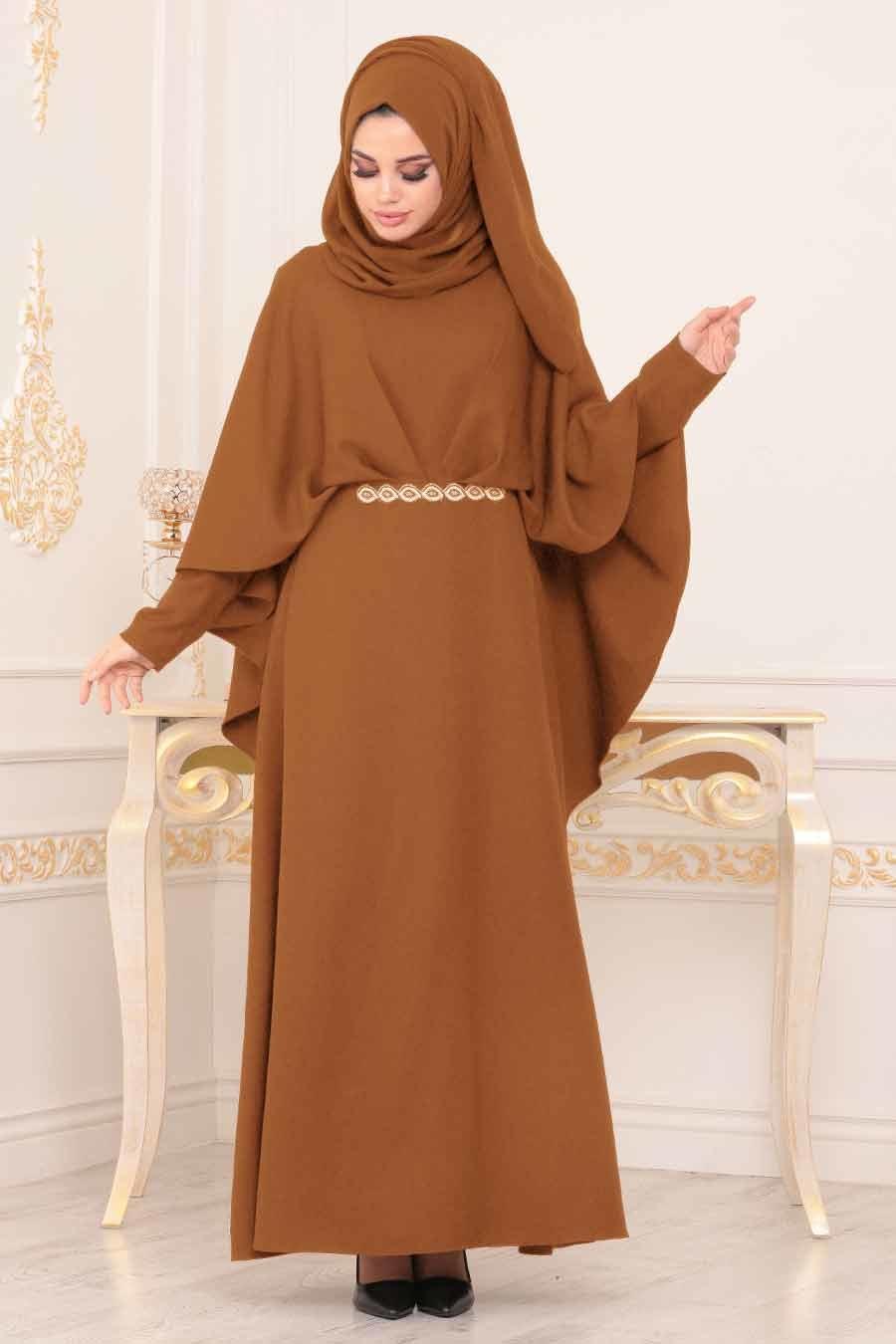 Nayla Collection - Pelerinli Taba Tesettür Abiye Elbise 5002TB