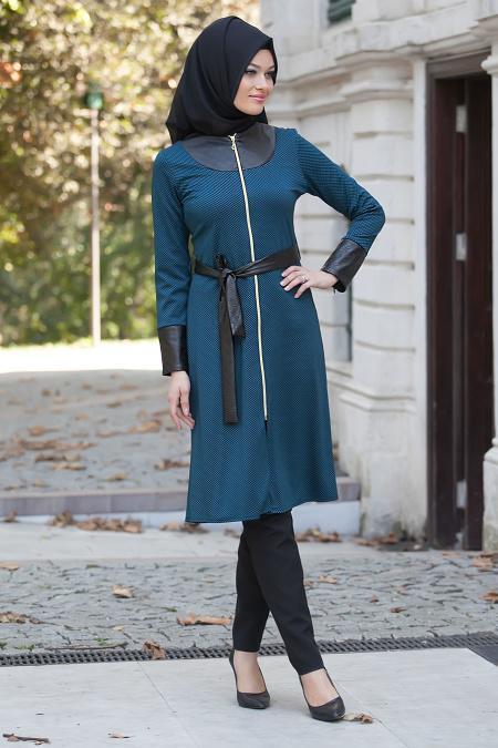 Nayla Collection - Petrol Blue Hijab Coat 5181PM