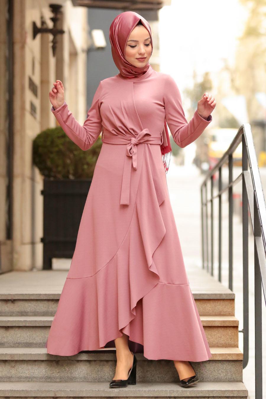 Nayla Collection - Pudra Tesettür Çapraz Elbise 4041PD