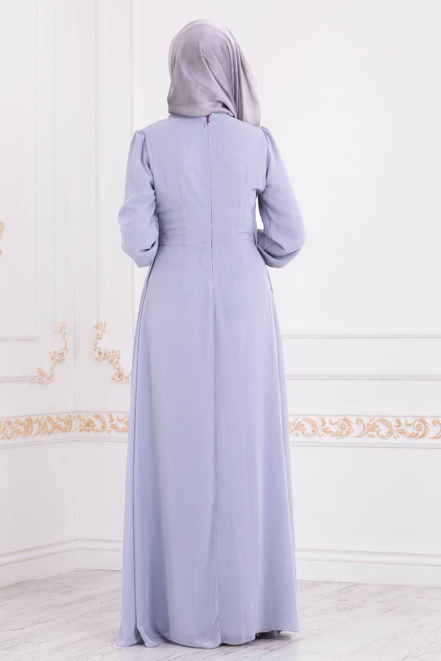 Nayla Collection - Pul Detaylı Gri Tesettür Abiye Elbise 25717GR
