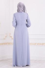 Nayla Collection - Pul Detaylı Gri Tesettür Abiye Elbise 25717GR - Thumbnail