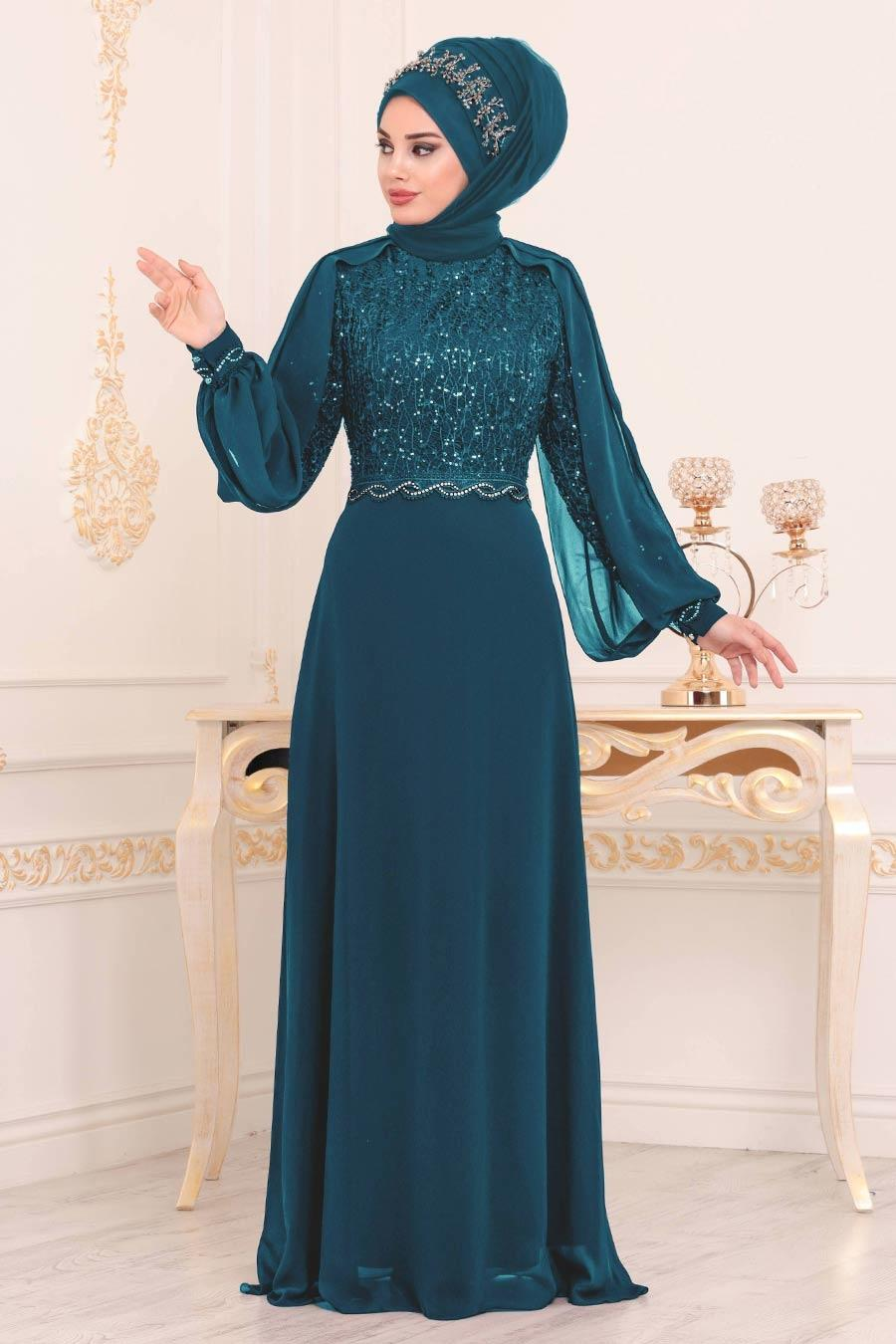 Nayla Collection - Pul Detaylı İndigo Mavisi Tesettür Abiye Elbise 25736IM