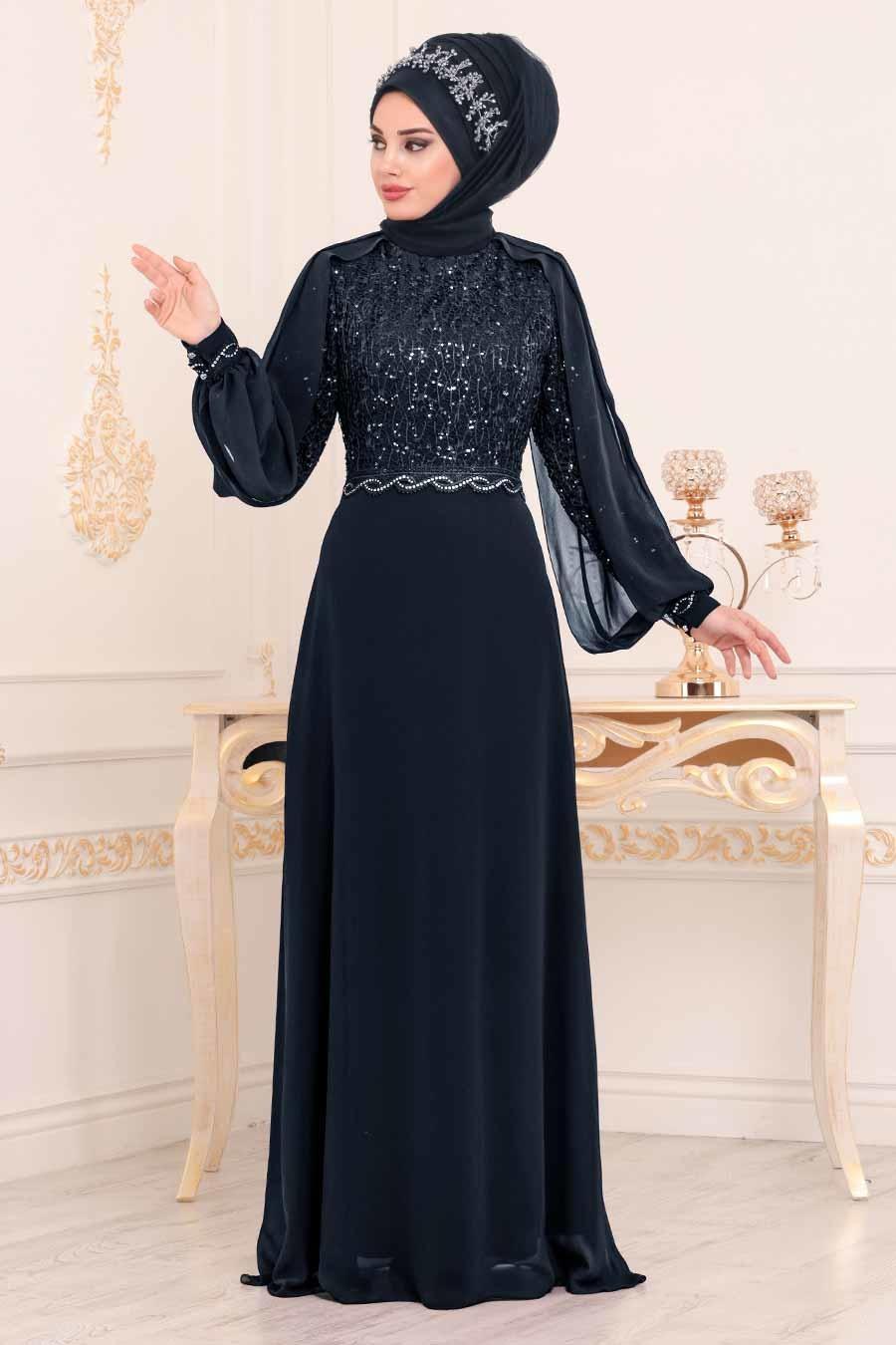 Nayla Collection - Pul Detaylı Lacivert Tesettür Abiye Elbise 25736L