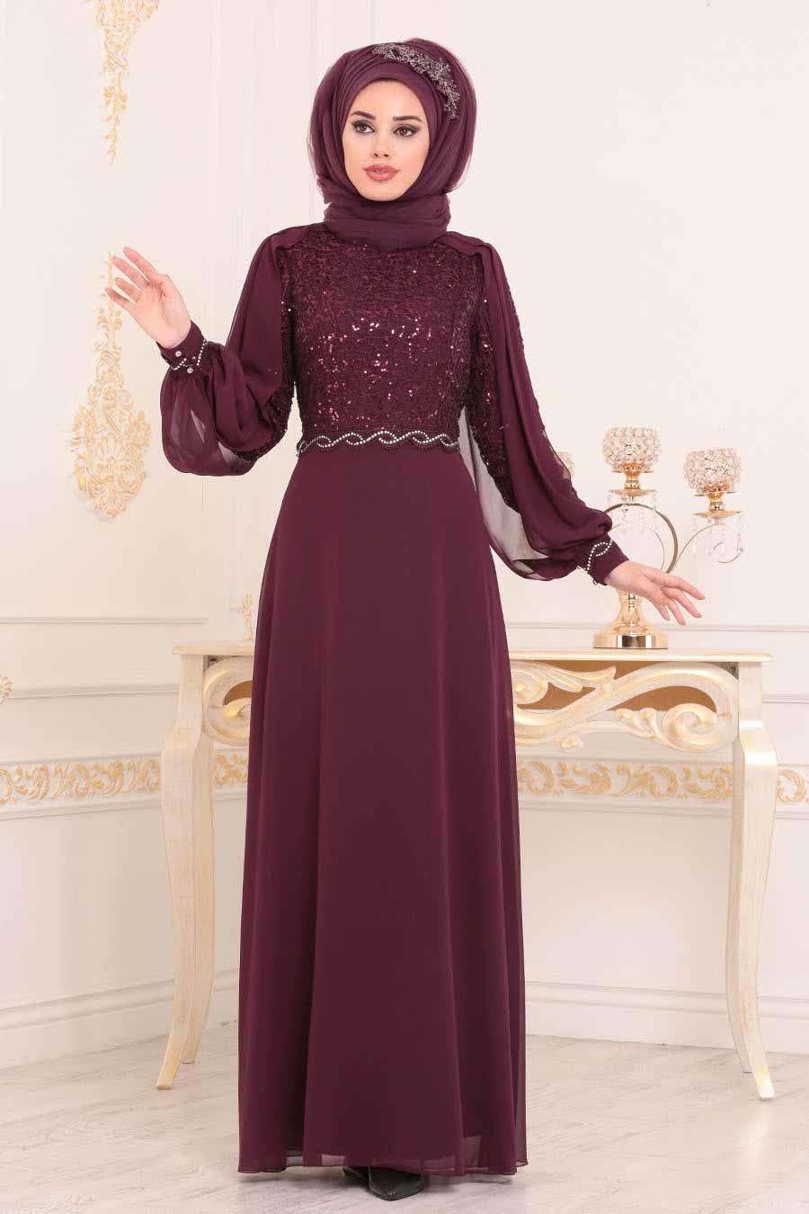 Nayla Collection - Pul Detaylı Mürdüm Tesettür Abiye Elbise 25736MU