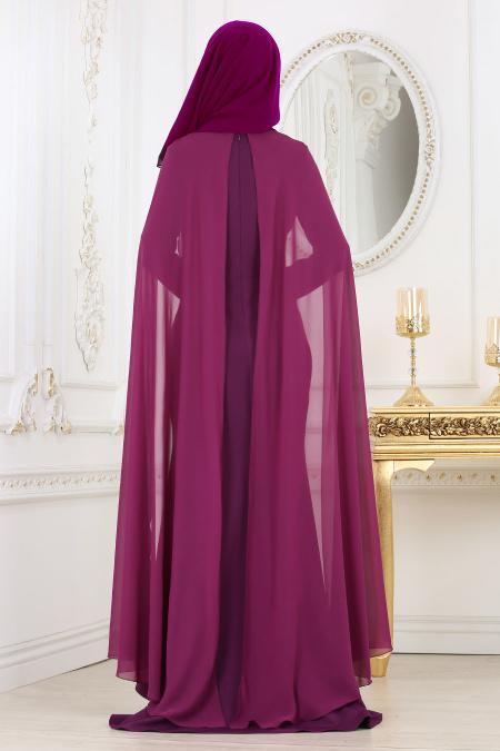 Nayla Collection - Pul Payet Detaylı Mor Tesettür Abiye Elbise 25671MOR