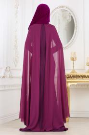 Nayla Collection - Pul Payet Detaylı Mor Tesettür Abiye Elbise 25671MOR - Thumbnail
