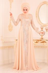 Nayla Collection - Pul Payetli Bej Tesettür Abiye Elbise 25740BEJ - Thumbnail