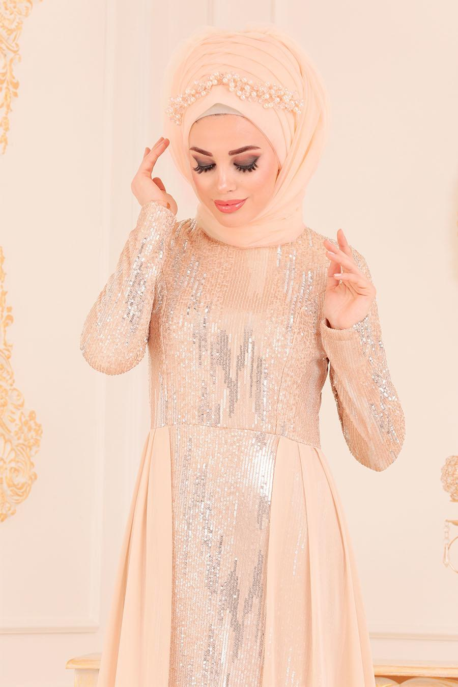 Nayla Collection - Pul Payetli Bej Tesettür Abiye Elbise 25740BEJ