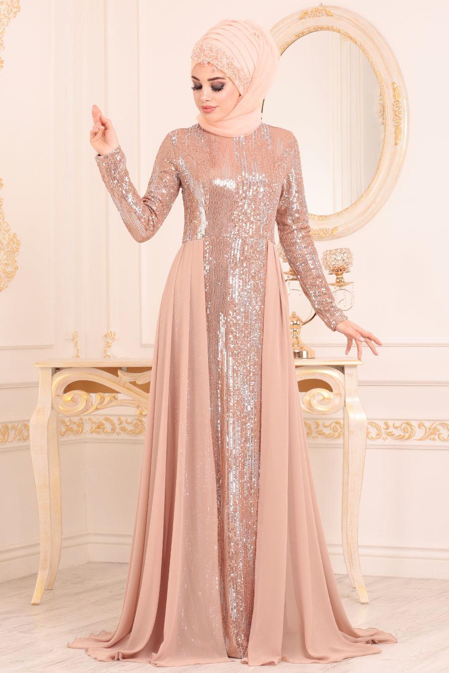 Nayla Collection - Pul Payetli Bisküvi Tesettür Abiye Elbise 25740BS