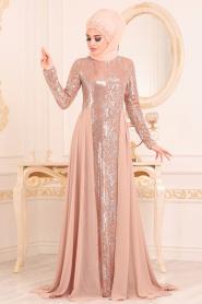Nayla Collection - Pul Payetli Bisküvi Tesettür Abiye Elbise 25740BS - Thumbnail