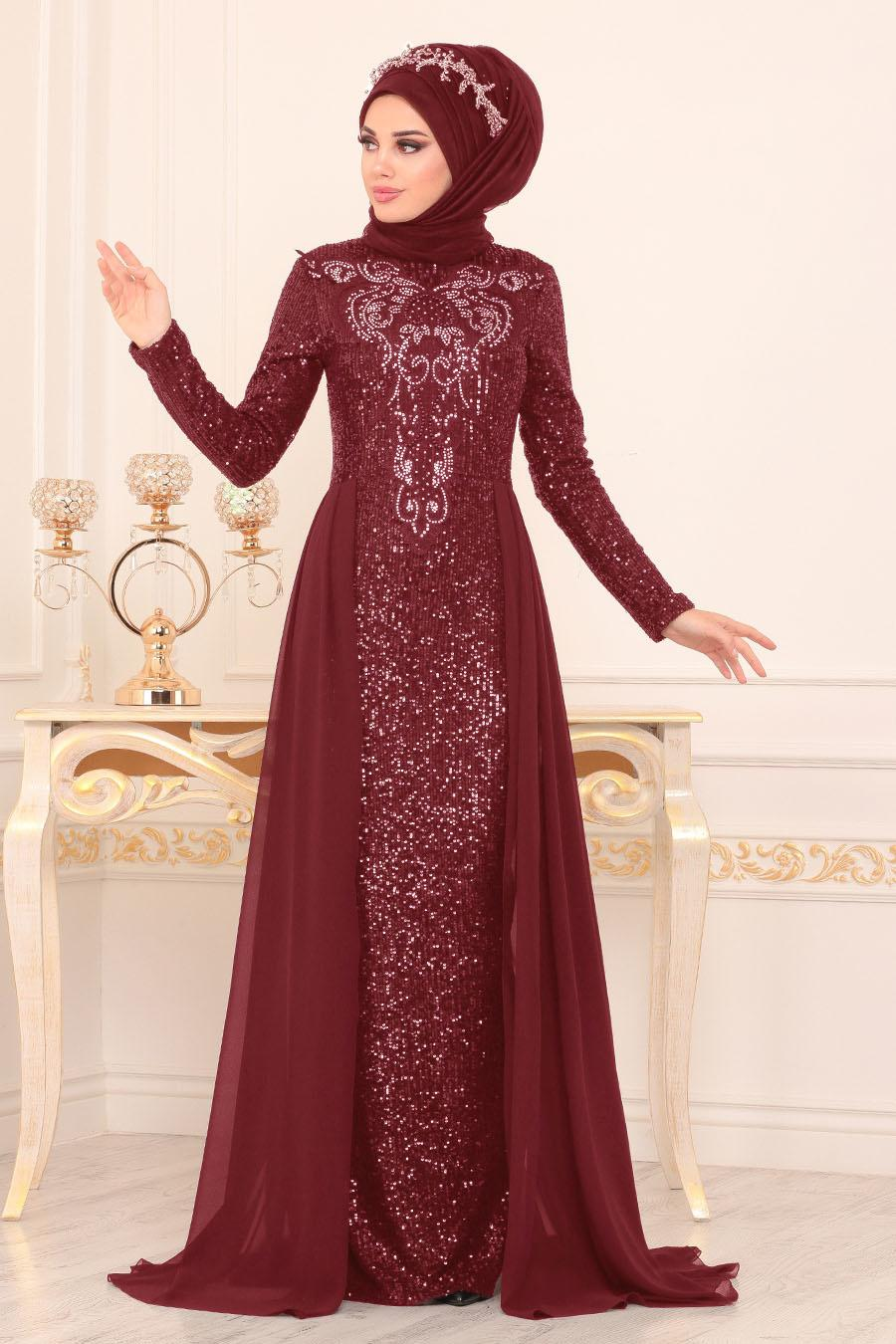Nayla Collection - Pul Payetli Bordo Tesettür Abiye Elbise 25724BR