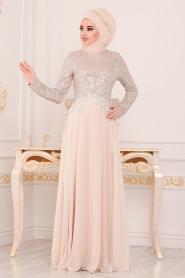 Nayla Collection - Pul Payetli Ekru Tesettür Abiye Elbise 25745E - Thumbnail
