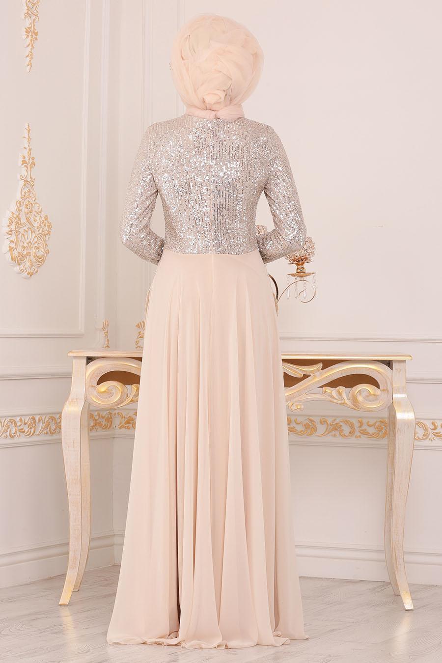 Nayla Collection - Pul Payetli Ekru Tesettür Abiye Elbise 25745E