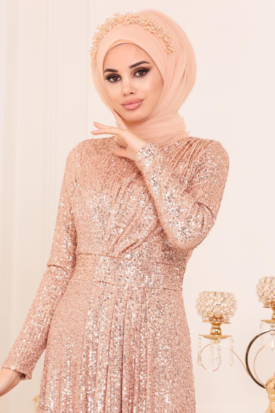 Nayla Collection - Pul Payetli Gold Tesettür Abiye Elbise 9106GOLD