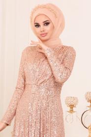 Nayla Collection - Pul Payetli Gold Tesettür Abiye Elbise 9106GOLD - Thumbnail