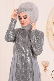 Nayla Collection - Pul Payetli Gri Tesettür Abiye Elbise 25740GR - Thumbnail